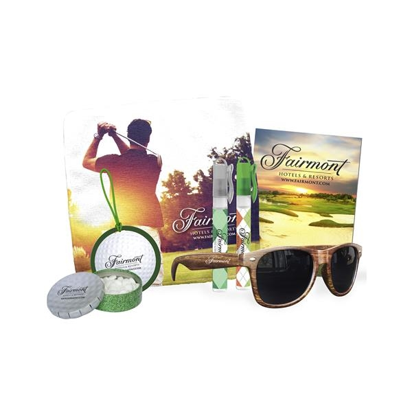 Golf kit containing sunglasses,