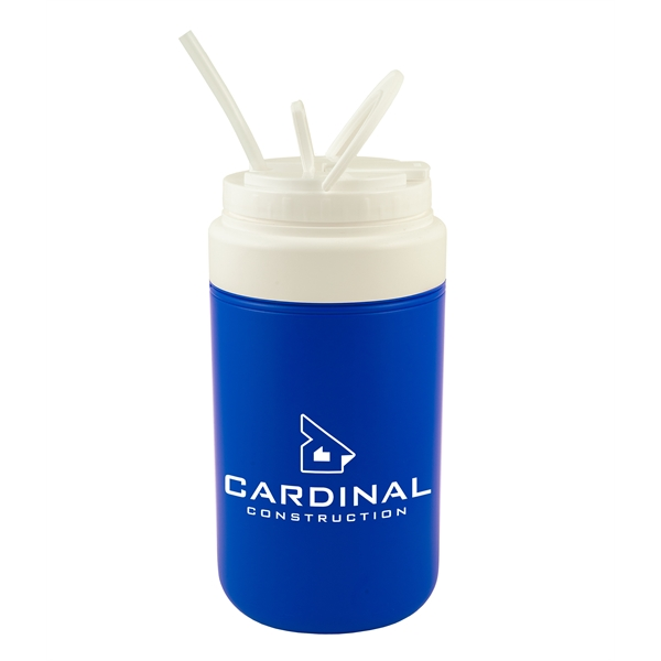 Insulated jug with straw