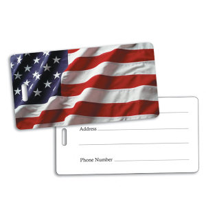 American flag luggage tag.