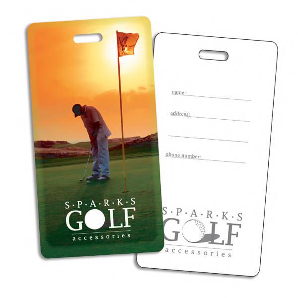 Plastic golf bag tag.