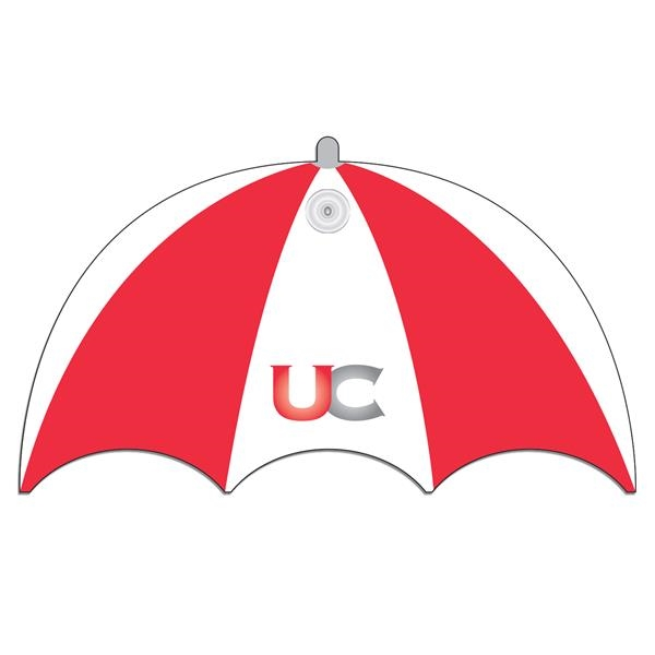 Umbrella shaped window sign