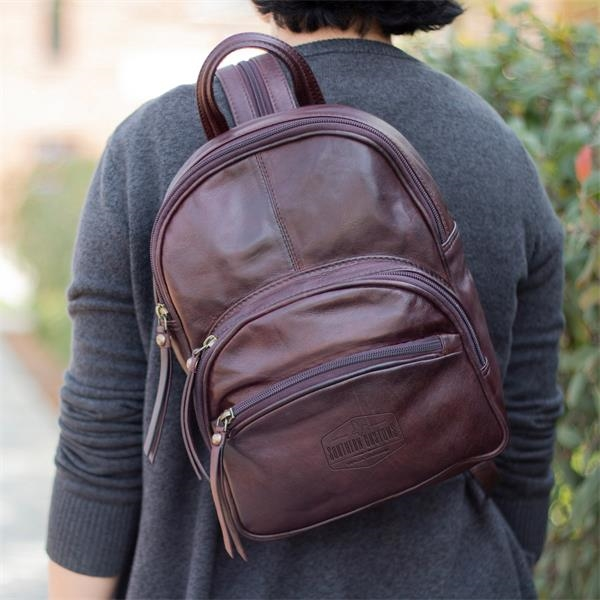 Mini leather backpack with