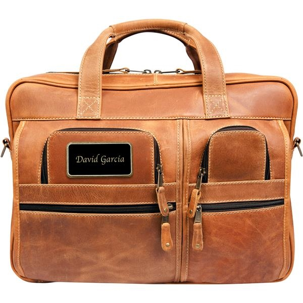 Leather briefcase with three