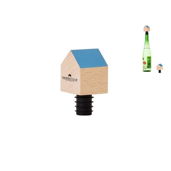 Wood house-shaped bottle stopper.