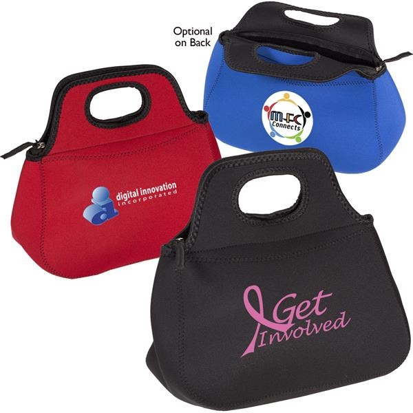 Zippered neoprene lunch tote.