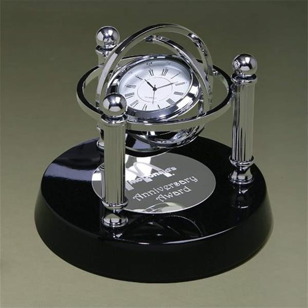 Silver accent clock on