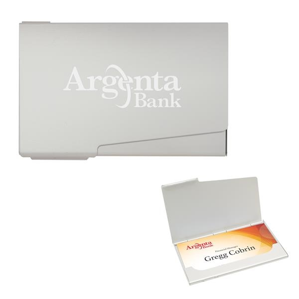 Business card holder. Aluminum