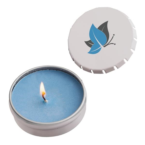 Snap top tin candle