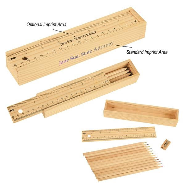 Wooden ruler box with