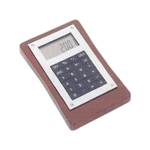 Executive calculator with wooden