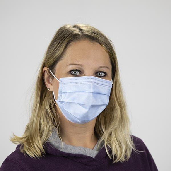 Adult-size, disposable non-woven face