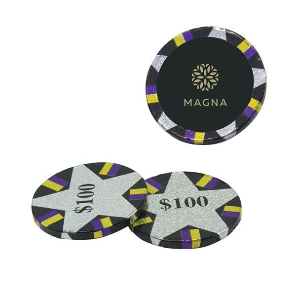 Foil-wrapped chocolate poker chips.