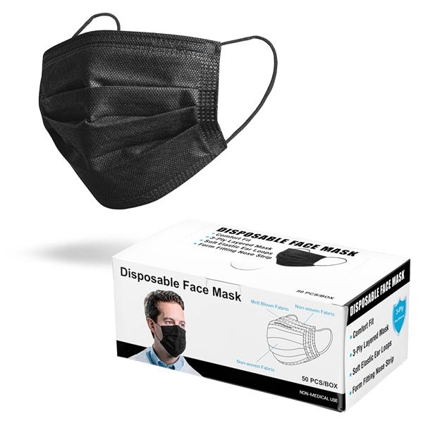 Black 3-Ply Disposable Face