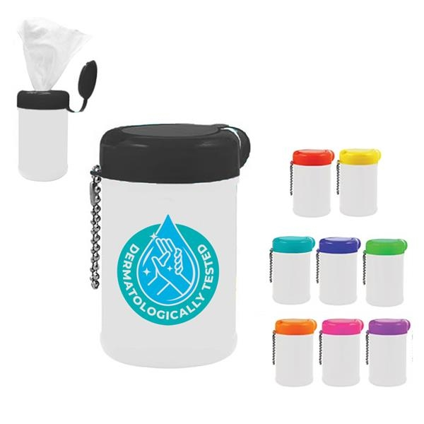 Pet wipe canister with