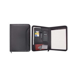 Leatherette zippered padfolio with
