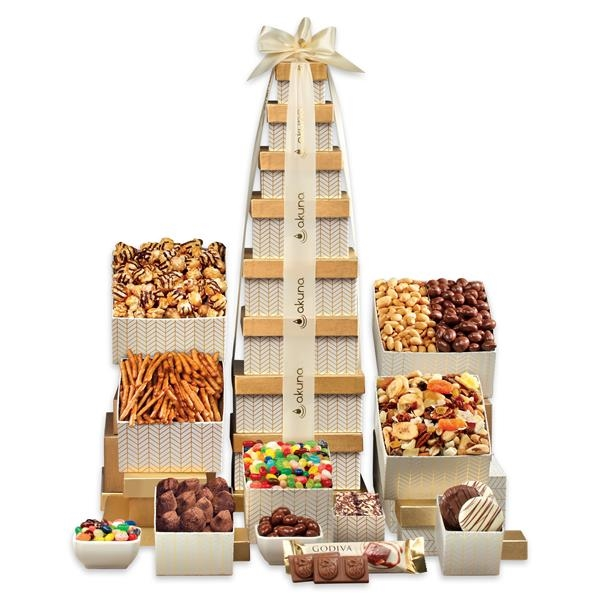Gold-patterned tower filled with