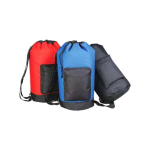 Drawstring backpack with rear