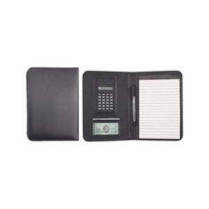 Leatherette padfolio with calculator,