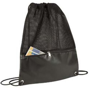 Drawstring backpack with leatherette