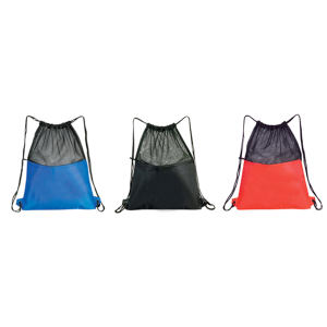 Mesh drawstring bag with