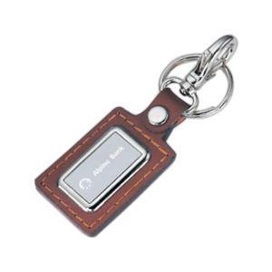 Rectangular stitched leatherette key