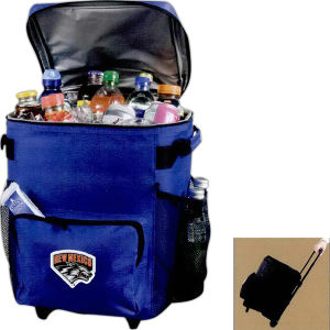 Rolling 48-can cooler bag.