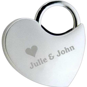 Nickel plated locking heart