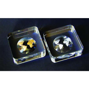 World paperweight-golden optical crystal