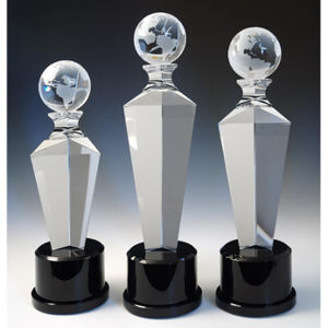 Globe optical crystal award/trophy.