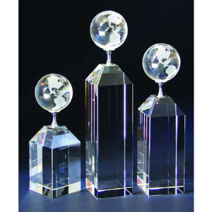 Globe optical crystal award/trophy.