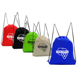 Nonwoven polypropylene drawstring backpack.