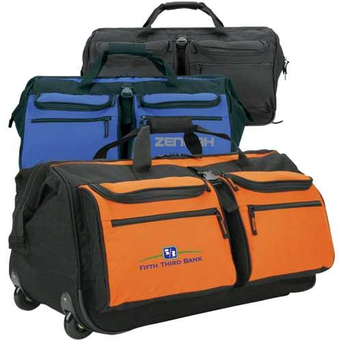 Rolling duffel bag made