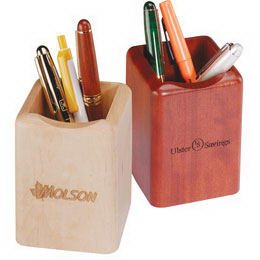 Solid wood pencil holder.