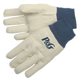 Canvas gloves with blue