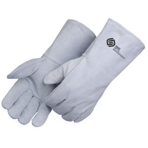 Gray leather welder gloves