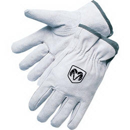 Split cowhide driver gloves.