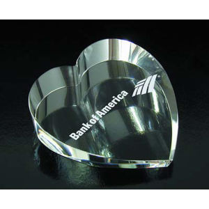Heart paperweight optical crystal