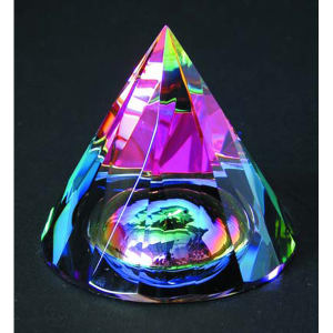 Rainbow faceted cone with
