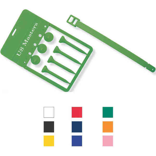 Golf tee with strap.