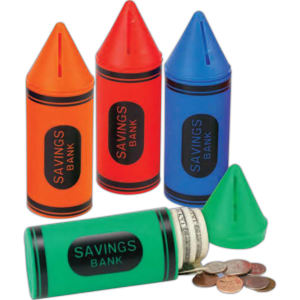 Plastic crayon shaped bank
