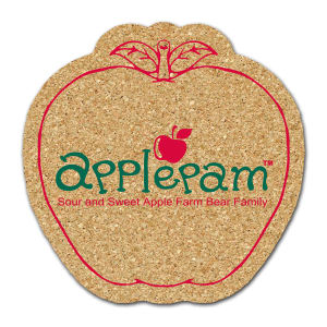 Apple shaped cork coaster,