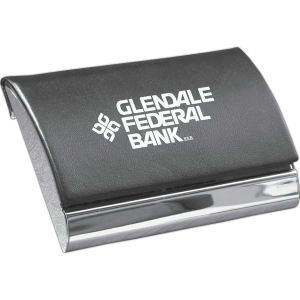 Leatherette business card holder.