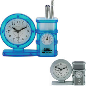 All-in-one clock, pen holder,