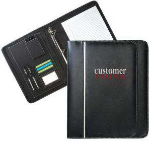 Zippered leatherette binder portfolio.
