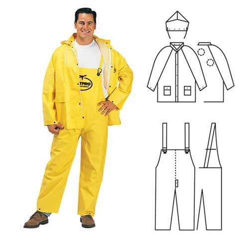 PVC/polyester 3-piece yellow rainsuit.