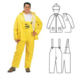 PVC/polyester 3-piece yellow rainsuit.