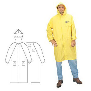 PVC/Polyester 2-piece yellow raincoat.