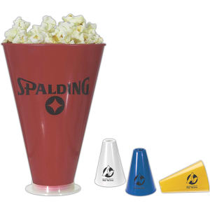 Popcorn holder/megaphone. Holds over