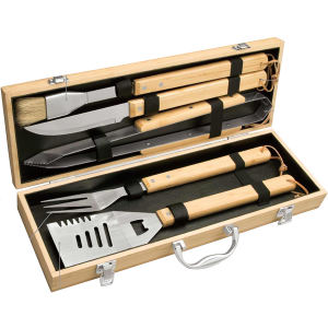 Five piece bamboo barbecue