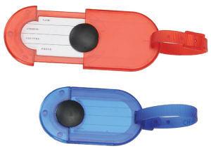 Plastic sliding luggage tag.